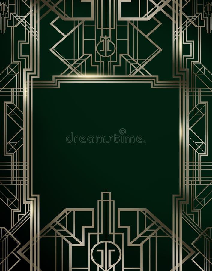 Gran cartel del fondo del contexto de la película de la inspiración de la película de Gatsby stock de ilustración