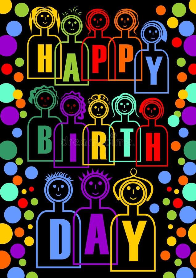 Gran cartelera o decoración del partido del feliz cumpleaños con las muñecas coloridas, tienen letras separadas en cuerpo libre illustration