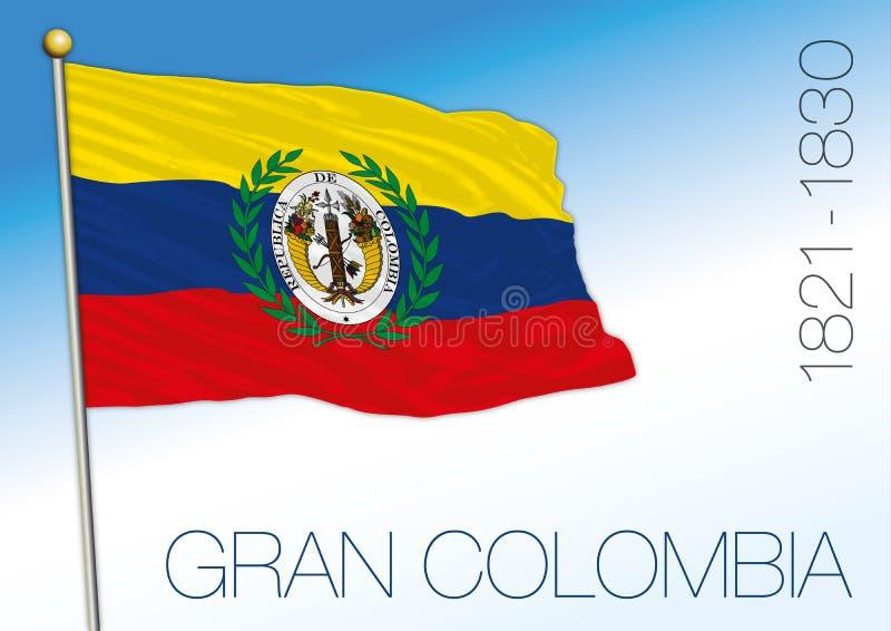 Gran Colombia eller stor Colombia historisk flagga, 1821 - 1830 vektor illustrationer