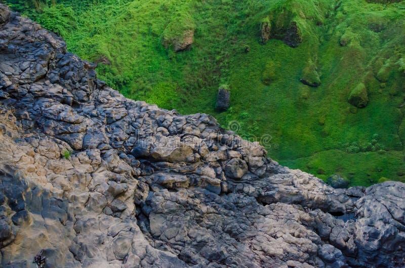 Gran contraste entre el musgo e hierba verde y acantilado marrón de la roca profundamente en la selva tropical del Camerún, Áfric fotografía de archivo