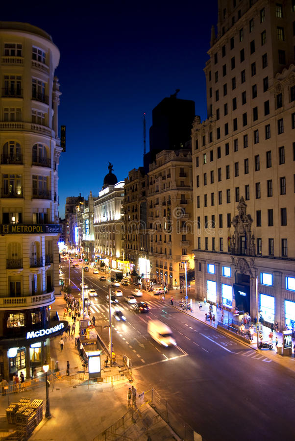 Gran di Madrid via immagine stock libera da diritti