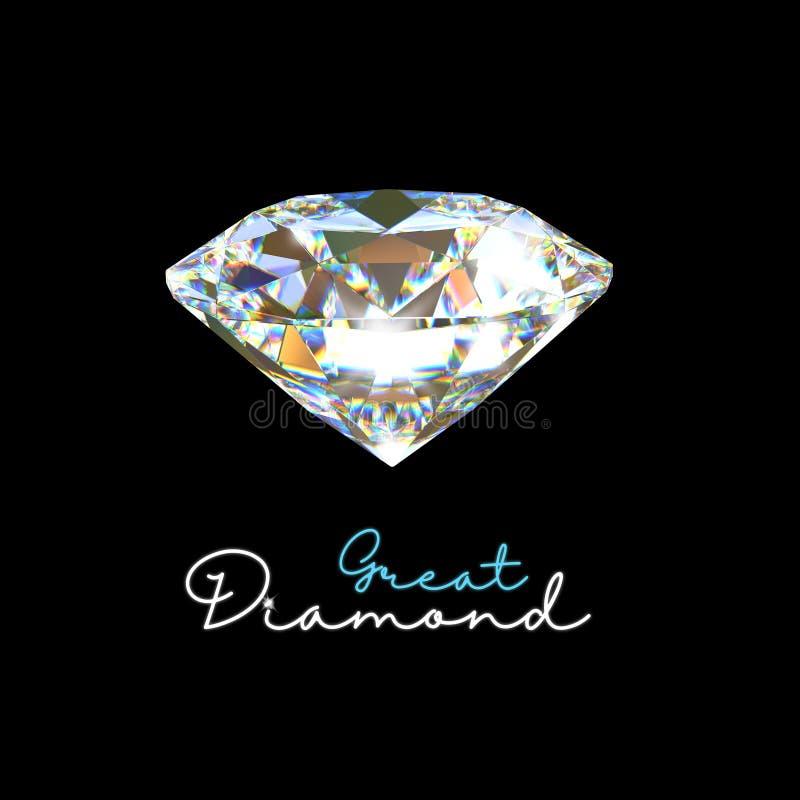 Gran diamante en el fondo negro stock de ilustración