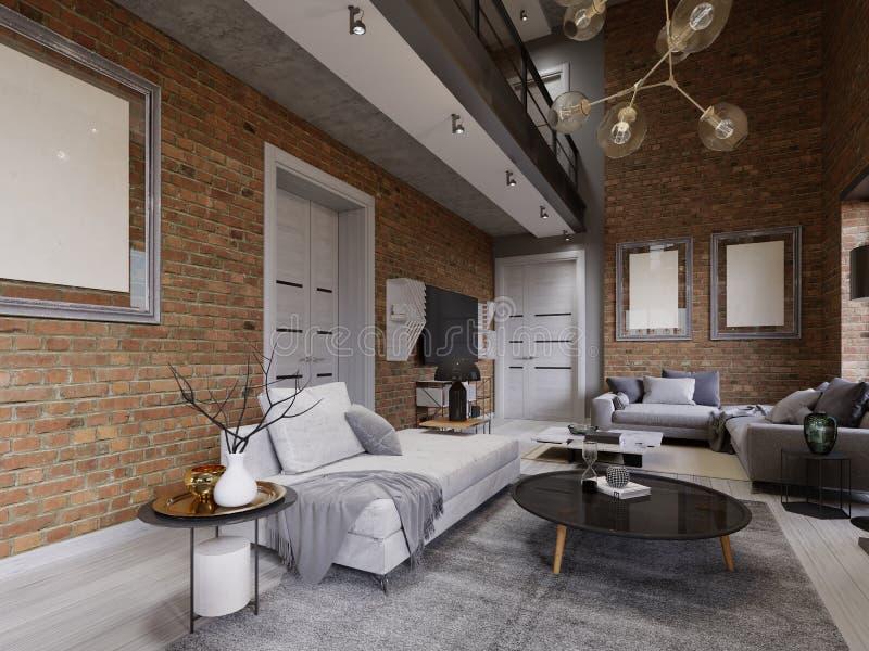 Gran diseño de apartamentos en un estilo del desván con una pared de ladrillo y ventanas panorámicas tapizadas del mueble y grand libre illustration