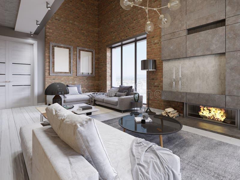Gran diseño de apartamentos en un estilo del desván con una pared de ladrillo y ventanas panorámicas tapizadas del mueble y grand stock de ilustración