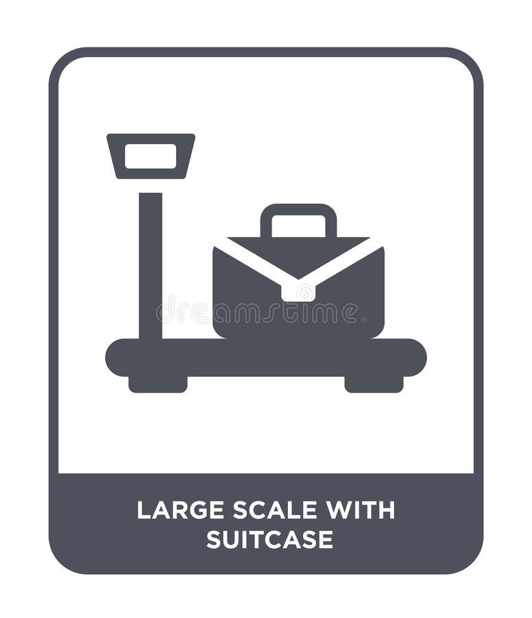 gran escala con el icono de la maleta en estilo de moda del diseño gran escala con el icono de la maleta aislado en el fondo blan ilustración del vector