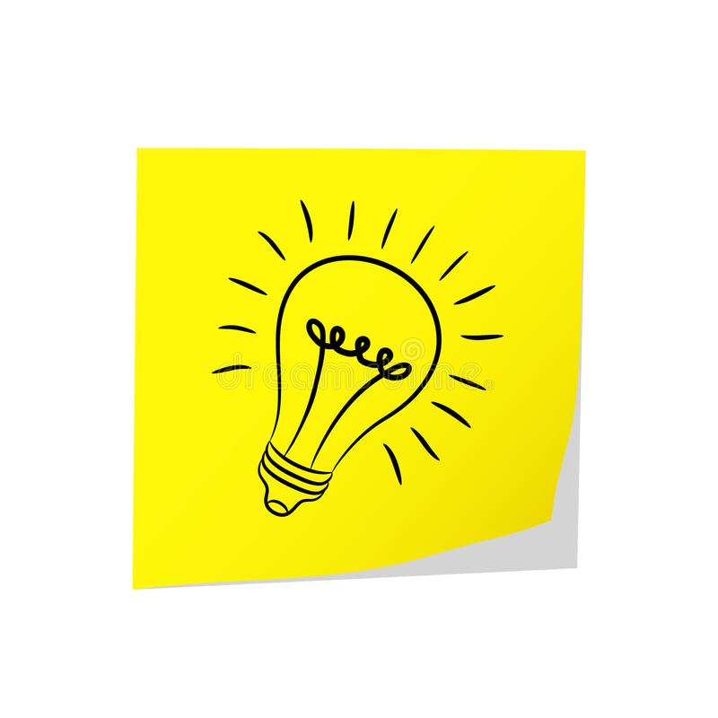 Gran idea - bulbo amarillo y eléctrico del post-it en el blanco, vect común stock de ilustración
