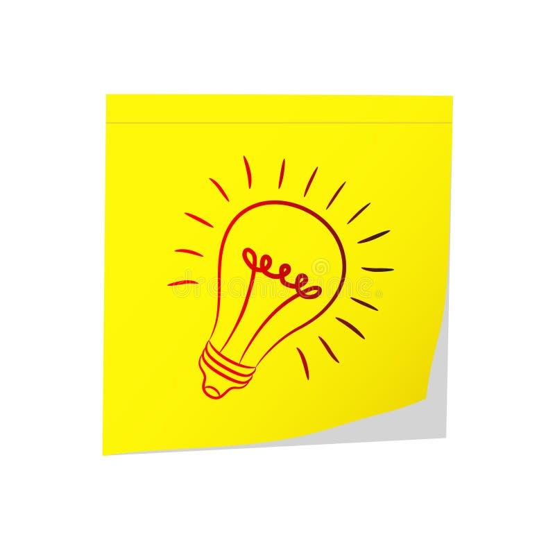 Gran idea - bulbo amarillo y eléctrico del post-it en el blanco, vect común ilustración del vector