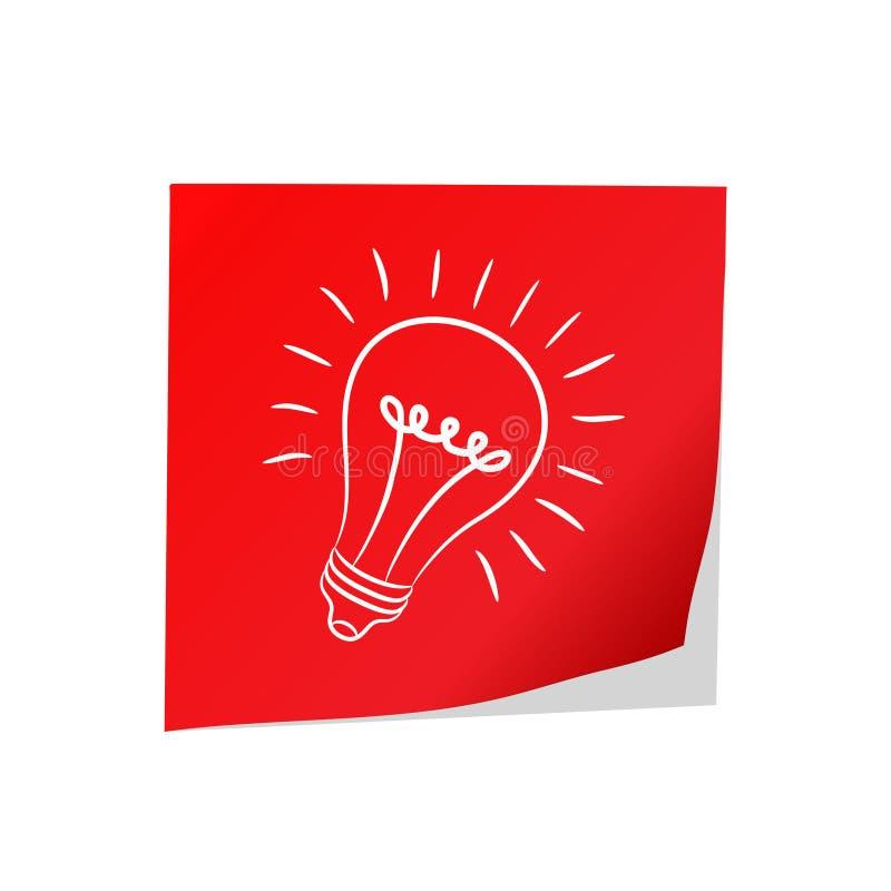 Gran idea - documento rojo de los posts y bulbo eléctrico sobre el blanco, vect común libre illustration