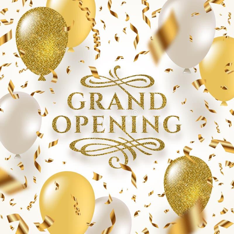 Gran inauguración - el logotipo del oro del brillo con prospera los elementos ornamentales rodeados por el confeti y los globos d libre illustration