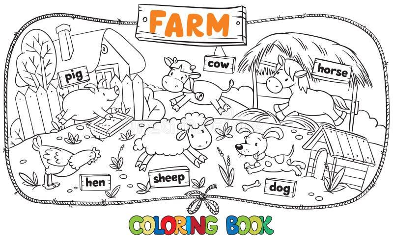 Gran Libro De Colorear Con Los Animales Del Campo Ilustración del ...