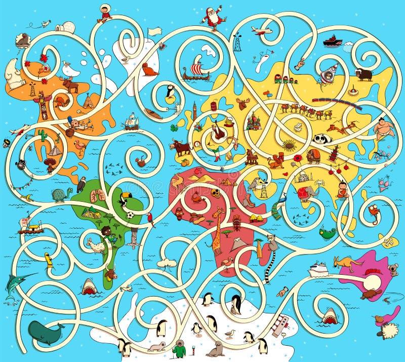 Gran mapa del mundo Maze Game Encuentre la manera correcta de Austra ilustración del vector
