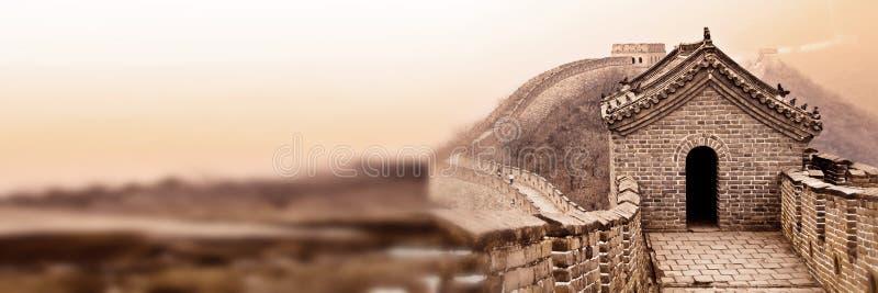 Gran Muralla de China cerca de la bandera panorámica de Pekín imágenes de archivo libres de regalías