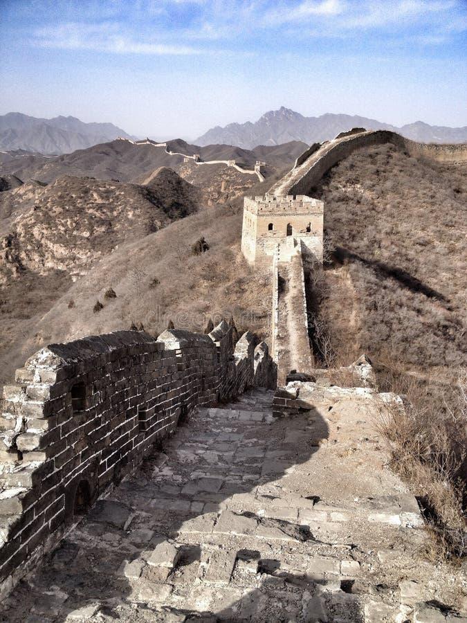 Gran Muralla de la opinión imponente de China en invierno imagen de archivo