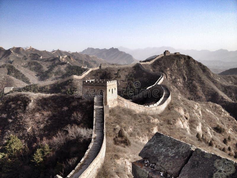 Gran Muralla de la opinión imponente de China en invierno fotos de archivo