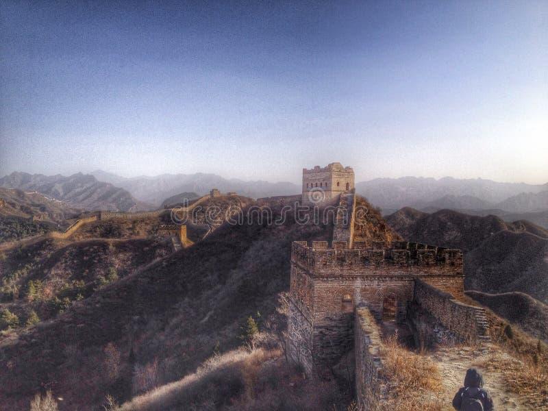 Gran Muralla de la opinión imponente de China en invierno imagen de archivo libre de regalías