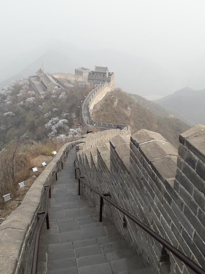 Gran Muralla de la tierra de China Pekín Badaling foto de archivo libre de regalías