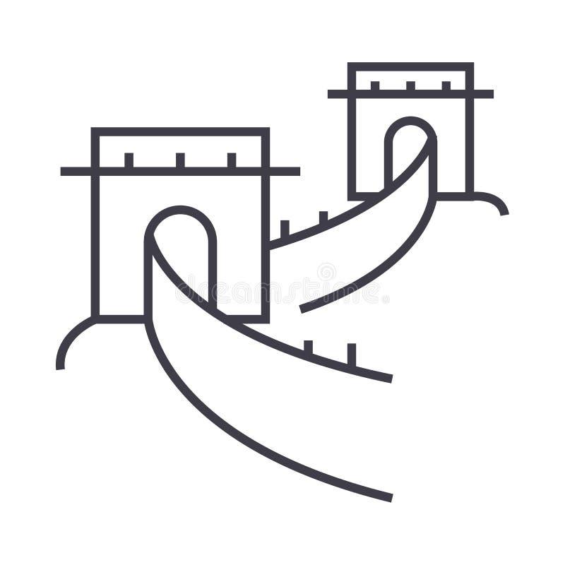 Gran Muralla, línea icono, muestra, ejemplo del vector de China en el fondo, movimientos editable ilustración del vector