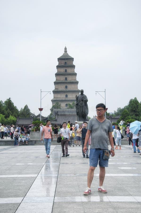 Gran pagoda salvaje cuadrada del sur xian del ganso foto de archivo
