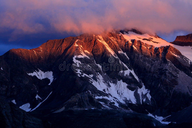 Gran Paradiso. Sunset in Gran Paradiso National Park, Italy royalty free stock image