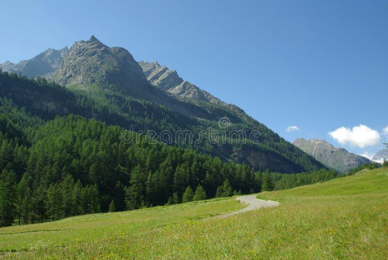 Gran Paradiso, Italy. The way to Gran Paradiso National Park, Italian Alps, Italy royalty free stock photos