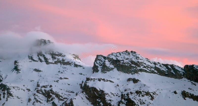 Gran Paradiso mountain. At dusk, Alps, Italy royalty free stock images