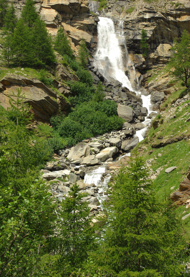 Gran Paradiso Nat. Park, Italy. Waterfall in Gran Paradiso National Park, Iatly royalty free stock image