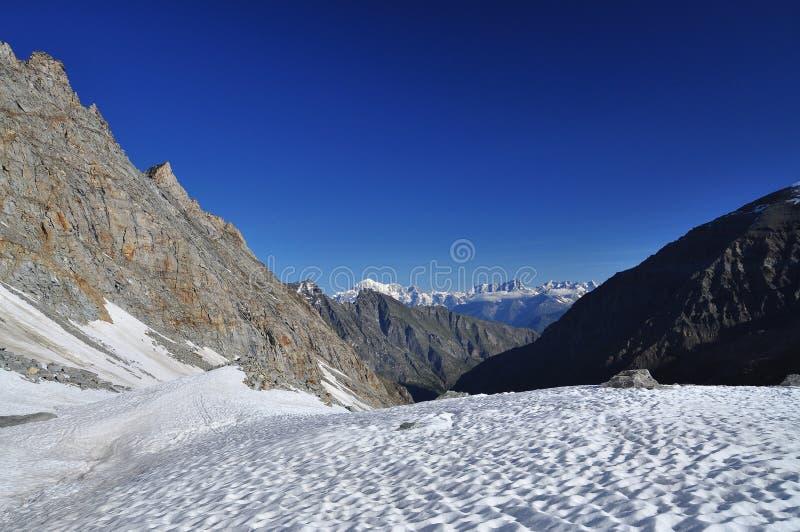Gran Paradiso national park. Aosta Valley, Italy. Snow on the Gran Paradiso national park trail. Aosta Valley, Italy stock images