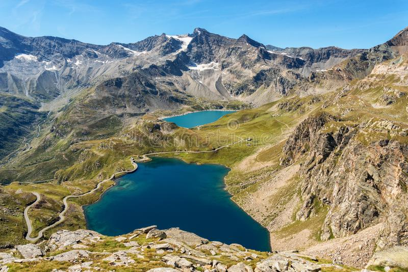 Gran Paradiso National Park in Italy. Aerial view of Lago Agnel and Lago Serru in the Gran Paradiso National Park in Italy royalty free stock images