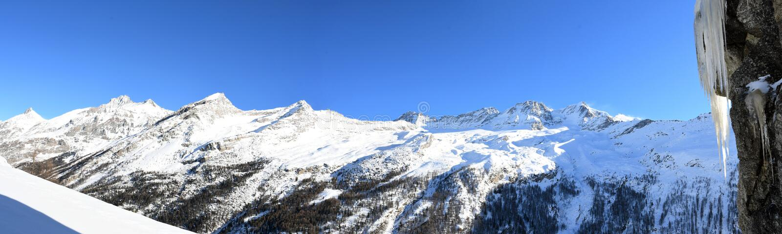 Gran Paradiso. Overview of the peaks of the Gran Paradiso, seen from the Valsavaranche stock photography