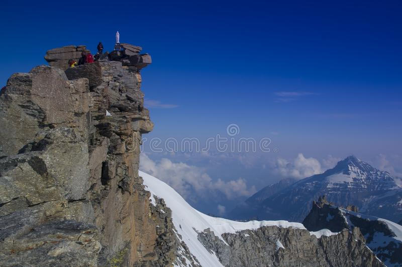 Gran Paradiso Peak 4061m in Italy. Alps stock photos