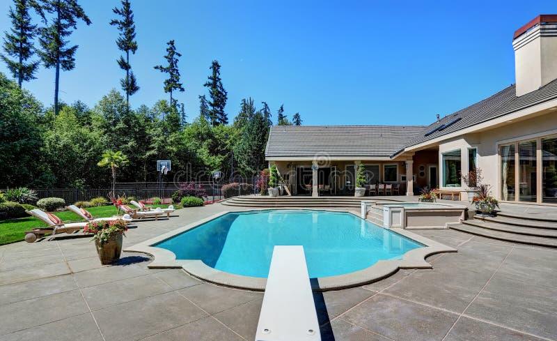 gran patio trasero con la piscina casa de lujo suburbana