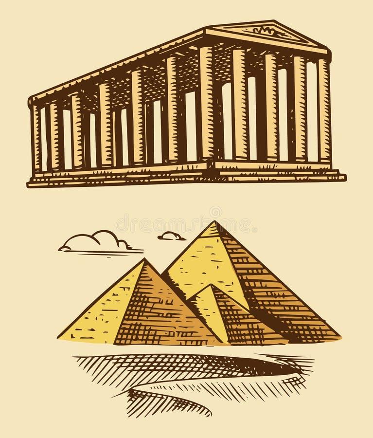 Gran pirámide de Giza y del edificio histórico con las columnas Siete maravillas del mundo antiguo La gran construcción ilustración del vector