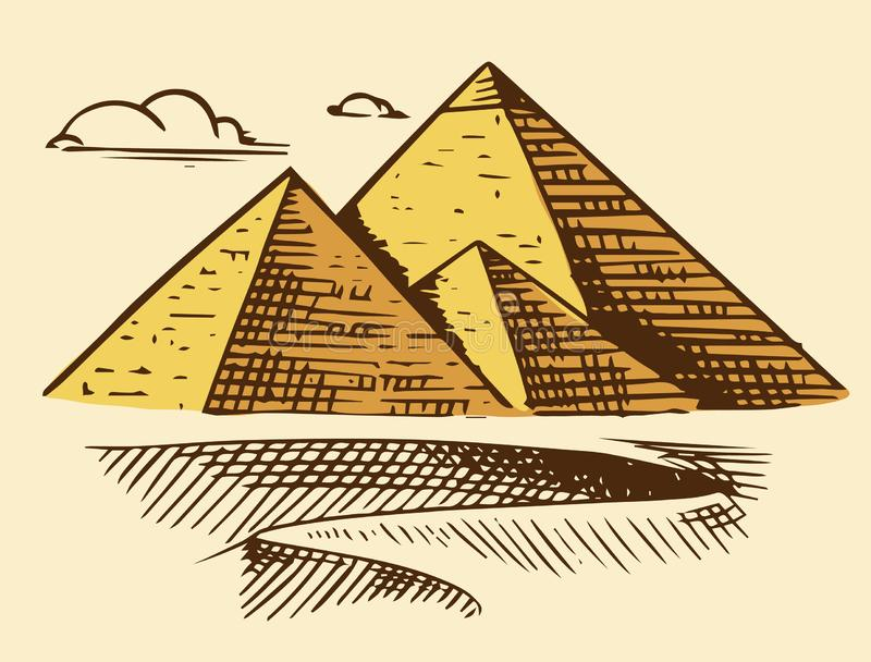 Gran pir?mide de Giza Siete maravillas del mundo antiguo La gran construcción de los Griegos Mano dibujada grabada libre illustration