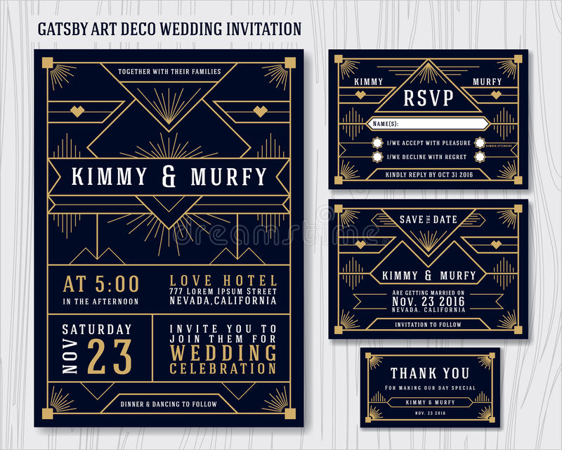 Gran plantilla de Gatsby Art Deco Wedding Invitation Design ilustración del vector