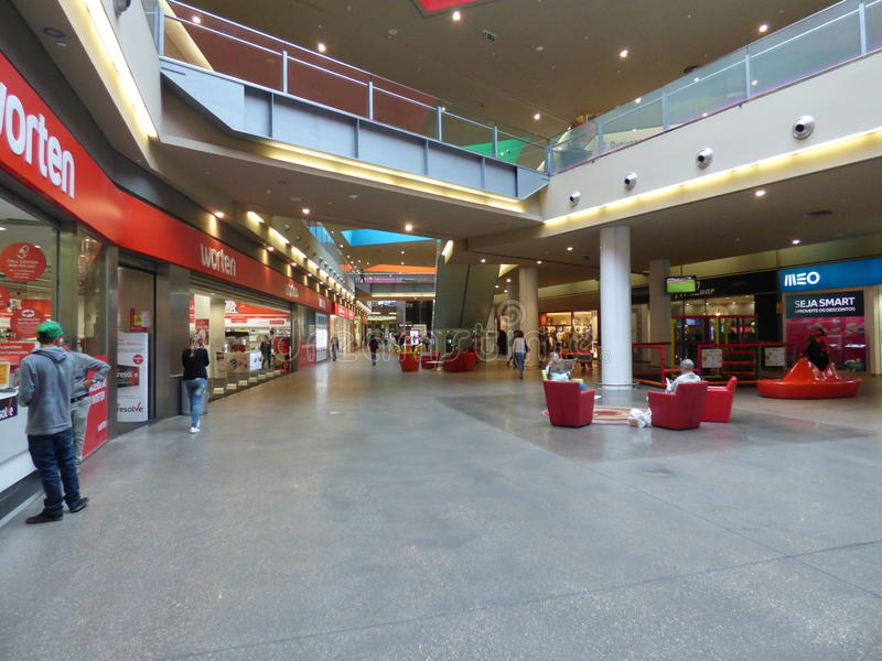 Gran plaza Shopping mall Tavira. Interior of two level shopping mall with browsing shoppers royalty free stock image