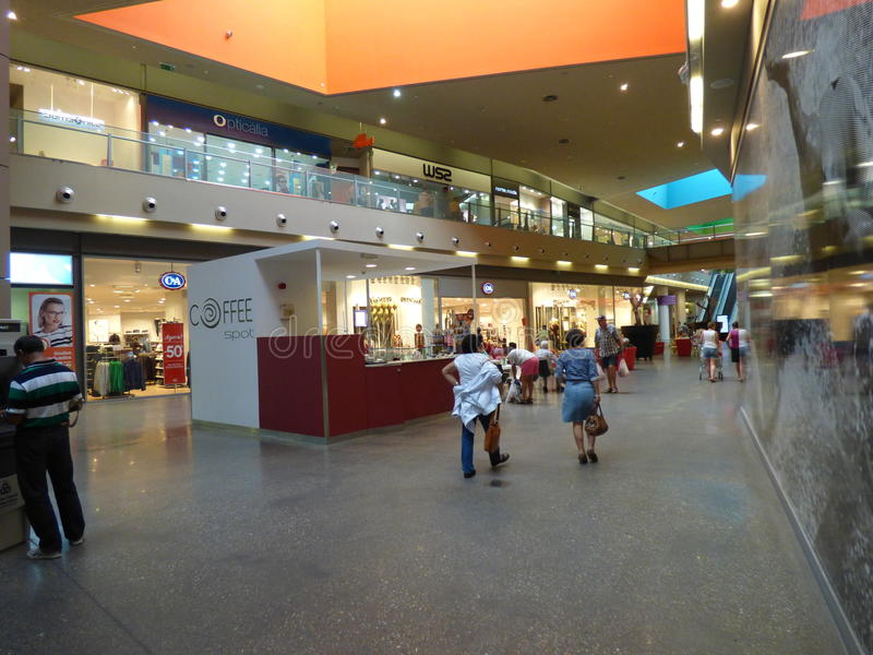 Gran plaza Shopping mall Tavira. Interior of two level shopping mall with coffee shop royalty free stock images