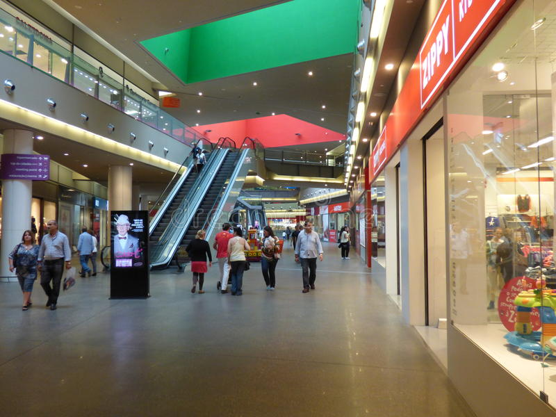 Gran plaza Shopping mall Tavira. Interior of two level shopping mall with crowds of shoppers royalty free stock photos