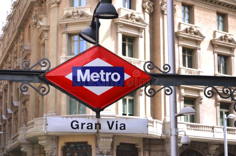 Gran Przez Stacja Metru podpisuje wewnątrz Madryt. obrazy royalty free