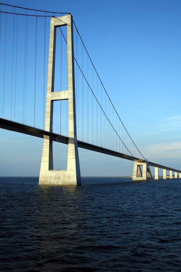 Gran puente de suspensión de la correa de Dinamarca imágenes de archivo libres de regalías