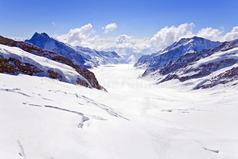 Gran región de Jungfrau del glaciar de Aletsch imágenes de archivo libres de regalías