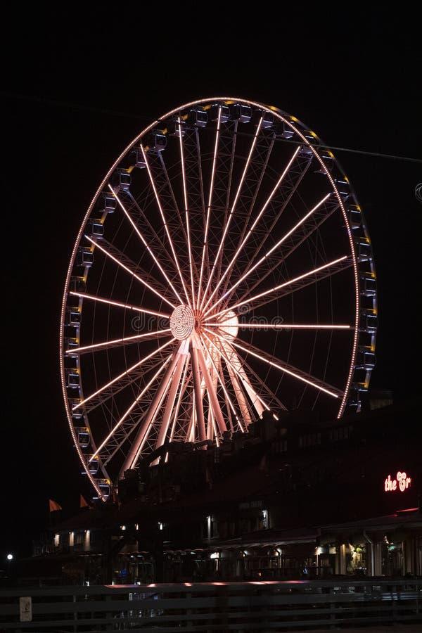 Gran rueda de Seattle en la noche fotografía de archivo