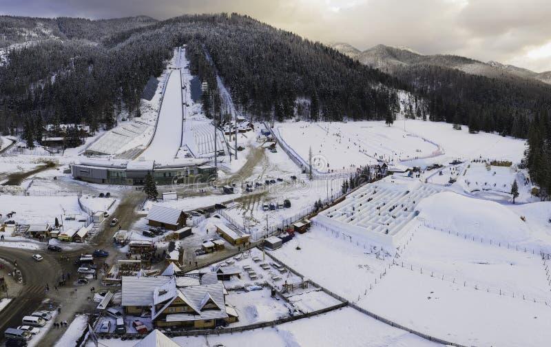 Gran salto de esquí en Zakopane llamado Huge Krokiew fotografía de archivo libre de regalías