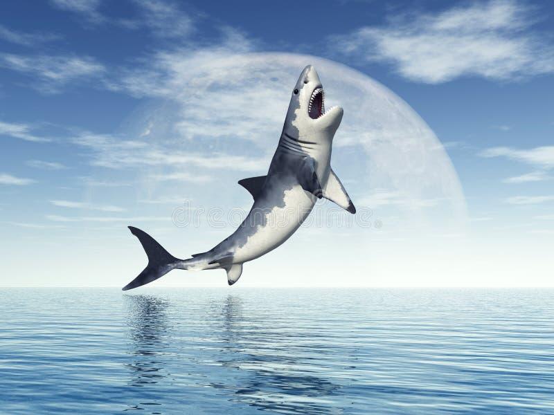 Gran salto del tiburón blanco stock de ilustración