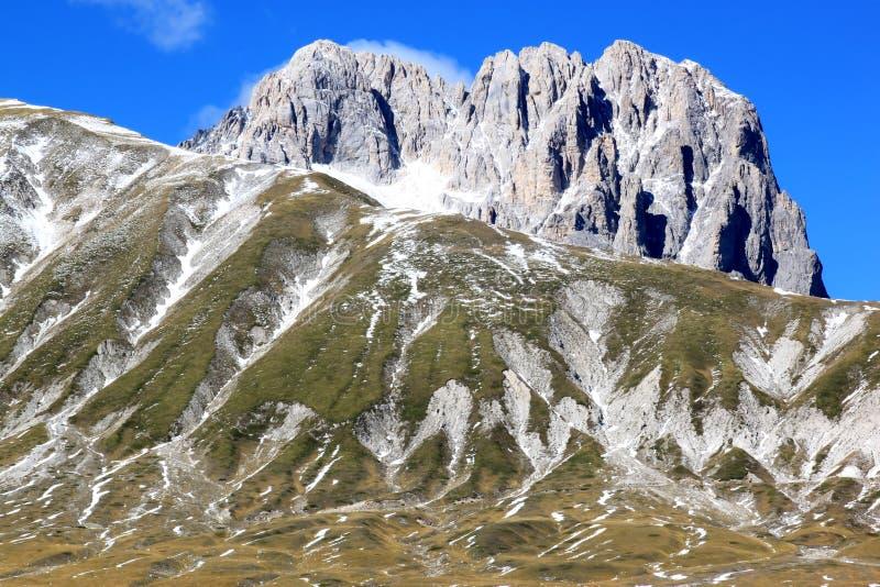 Gran Sasso山在亚平宁山脉,意大利 免版税图库摄影