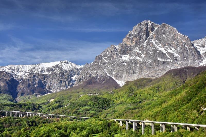 Gran Sasso山在阿布鲁佐 库存图片
