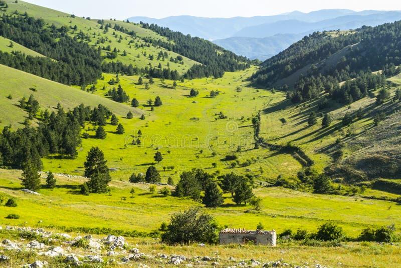 Gran Sasso d'Italia. Road of Vasto (L'Aquila, Abruzzi, Italy) - Mountain landscape at summer stock photo