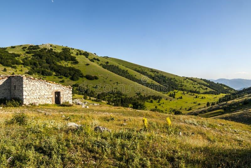 Gran Sasso d'Italia. Road of Vasto (L'Aquila, Abruzzi, Italy) - Mountain landscape at summer stock photography
