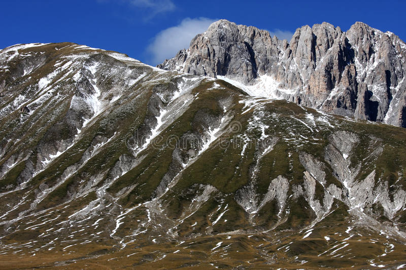 Gran Sasso mountain in the Apennines of Italy. Gran Sasso d'Italia, a mountain located in the Abruzzo region of central Italy, forms the centrepiece of the Gran royalty free stock image