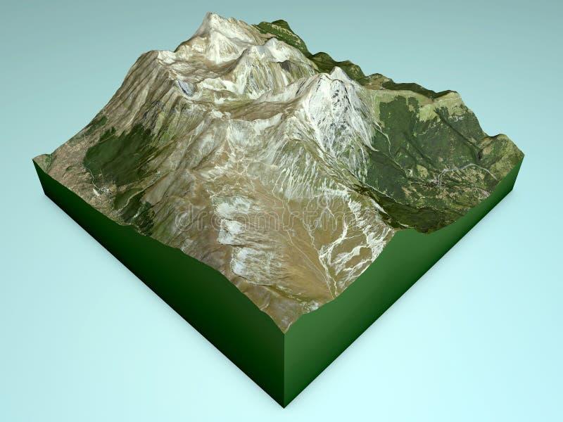 Gran Sasso mountain section, split 3d stock illustration