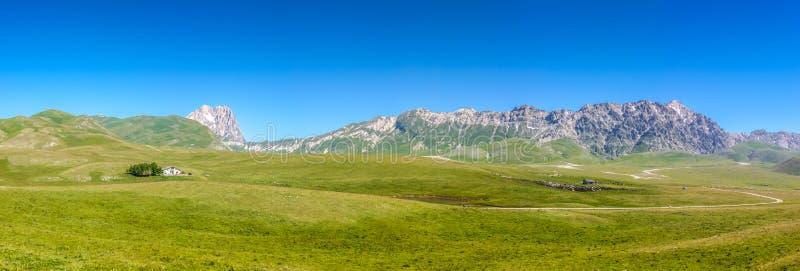 Gran Sasso mountain summit at Campo Imperatore plateau, Abruzzo, Italy stock photography